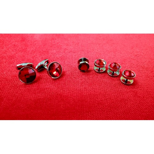 Set butoni cu nasturi bumbi camasa, pe rosu