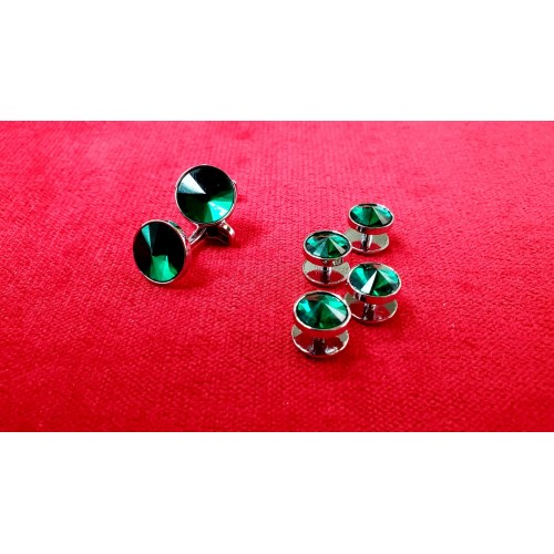 Set butoni cu nasturi bumbi camasa, pe verde