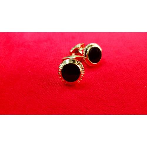 Butoni aurii cu piatra rotunda neagra