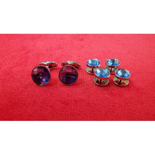 Set butoni cu nasturi bumbi camasa, pe albastru