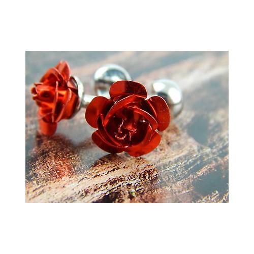 butoni camasa, in forma de trandafir rosu