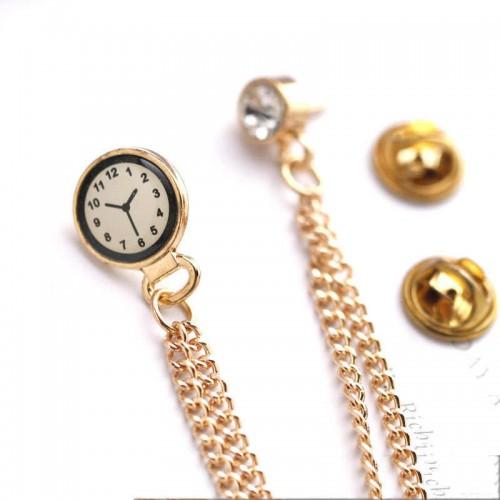 Brosa cu două prinderi cu cristal si ceas