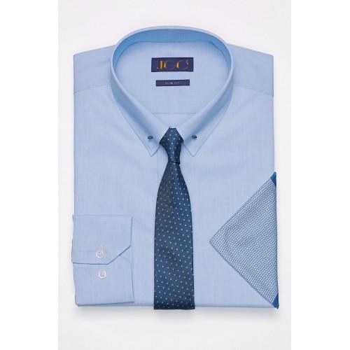 Set Camasa Albastra cu Ac Pin + Cravata + Batista