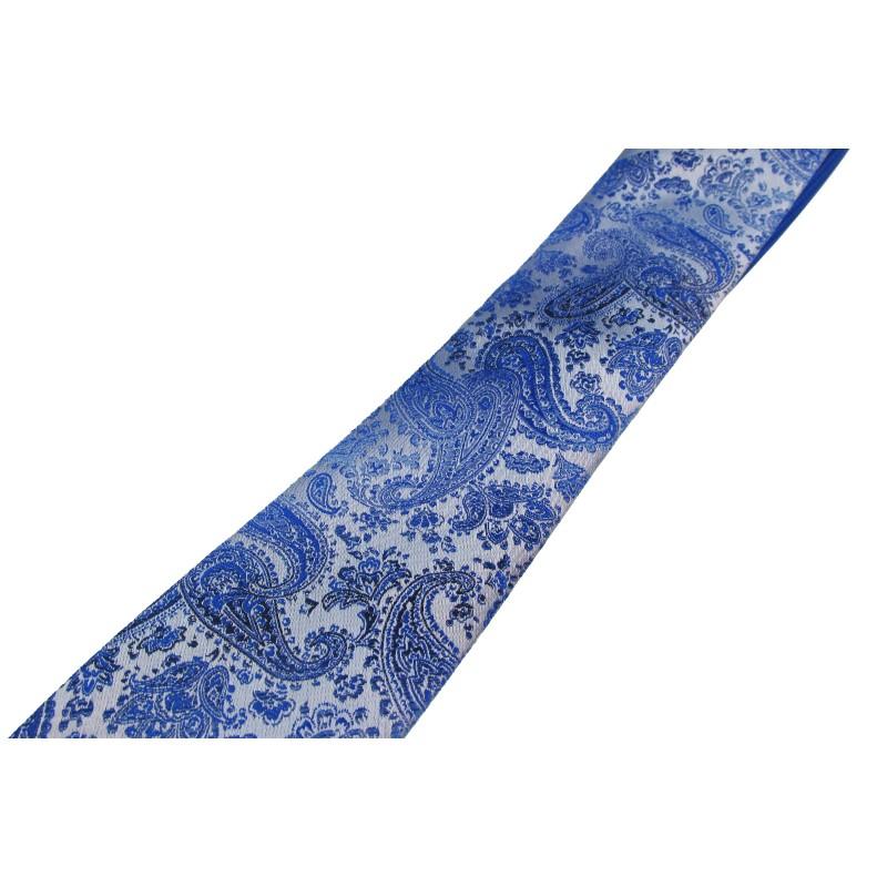 Cravata albastra cu motive florale