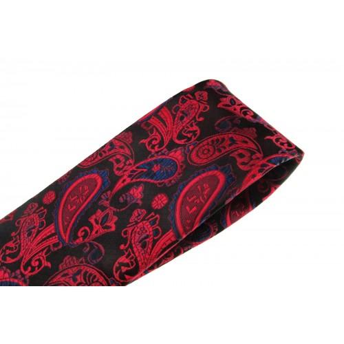 Cravata rosie cu motive florale