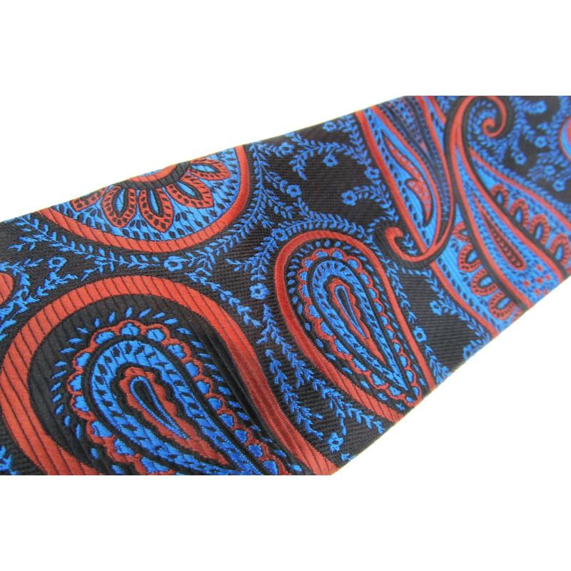 Cravata neagra cu motiv floral ros-albastru