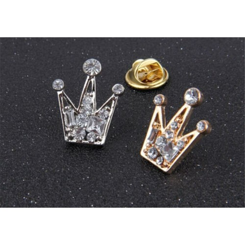 Brosa coroana cu pietre, pe auriu/argintiu