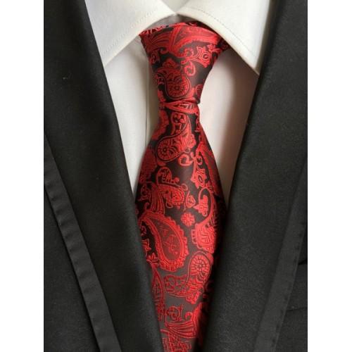 Cravata neagra cu flori rosii