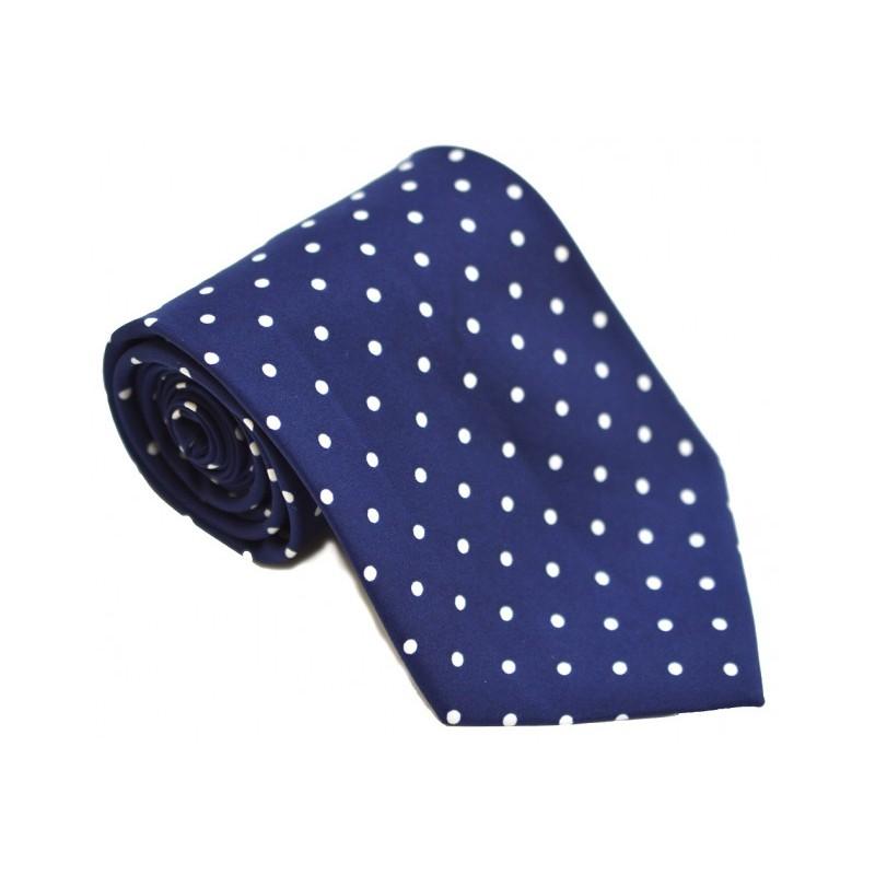 Cravata bleumarin cu buline albe