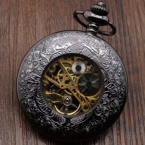 Ceas de buzunar cu lant Black Classic
