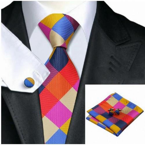 Set Cravata, butoni si batista din matase
